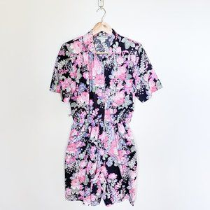 Vintage Pink Floral Print 90s Button Down Romper